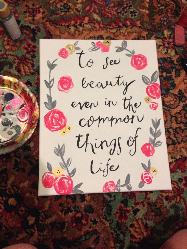 """To see beauty even in the common things of life"" alpha chi omega symphony canvas big little reveal gift flower wreath"