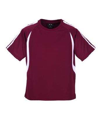 maroonwhite - MENS BIZCOOL FLASH TEE – T3110  Price includes 1 color, 1 location screen print  2 Color imprint available for an additional charge  • BizCool 100% Breathable Polyester single jersey knit  • Snag resistant fabric  • Contrast twin stripe from shoulder to sleeve cuff  • Contrast curved panel from raglan curve to back of tee  • Side splits  • 185 GSM