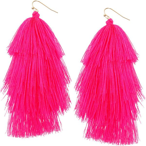Humble Chic NY Hula Fringe Tassels ($28) ❤ liked on Polyvore featuring jewelry, earrings, accessories, neon pink, blue tassel earrings, ombre jewelry, blue earrings, tassel jewelry and blue jewelry