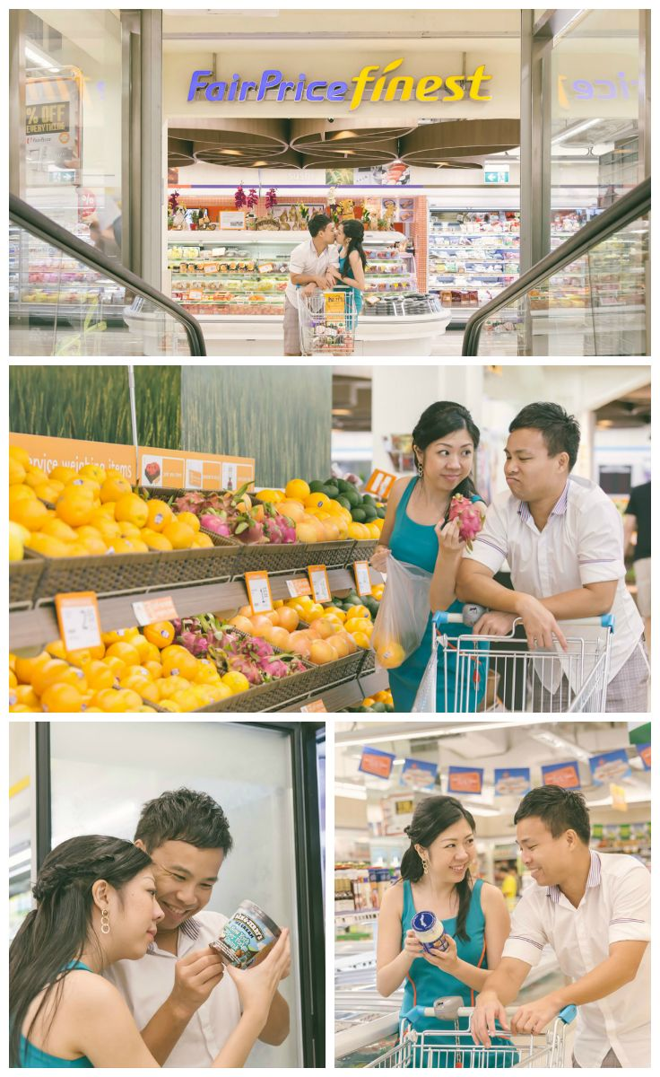Fun lifestyle pre-wedding photo shoot at a supermarket.