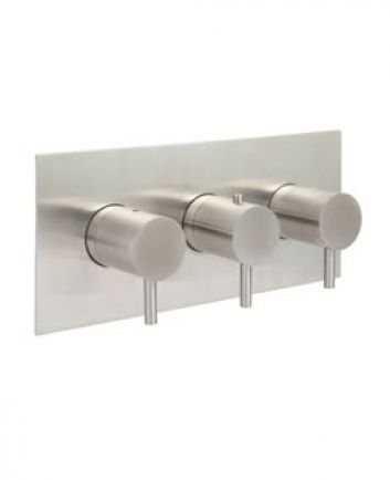 """Amox 2 1/2"""" triple outlet landscape concealed thermo shower valve brushed stainless steel"""