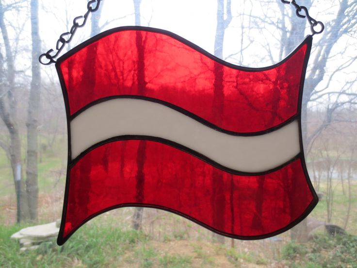 Latvian Latvia Ethnic National Flag Stained Glass Suncatcher by PerizadCreations on Etsy