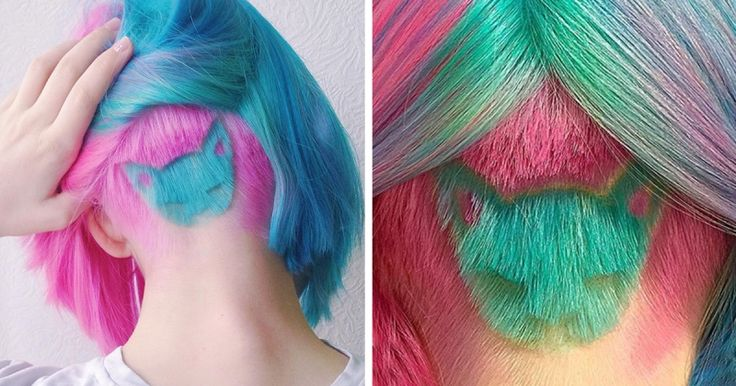 Rainbow Cat Undercut Is The Hottest New Hairstyle On Instagram Cat Hairstyle Shaved Back Head Katichka Fb2