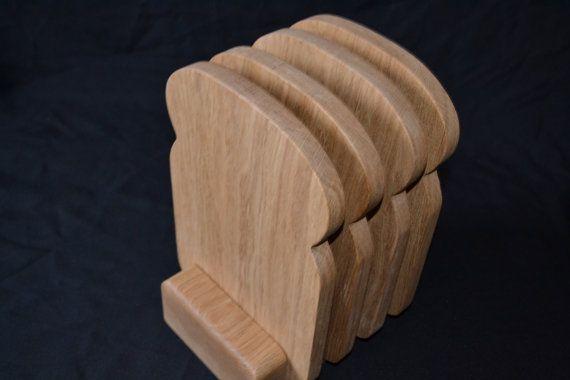 Toast rack style chopping board set. 4 oak 'bread slice' boards. Free U.K postage on Etsy, $88.97 AUD