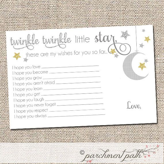 Twinkle Twinkle Little Star Shower Keepsake   Baby Wishes Printable    Gender Neutral Shower   First Birthday Party Favor   Instant Download