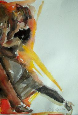 """Saatchi Online Artist Alicia Martínez; Painting, """"Tango Dancers"""" #art"""