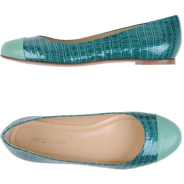 Sergio Rossi Ballet Flats ($217) ❤ liked on Polyvore featuring shoes, flats, green, ballet pumps, round toe ballet flats, green flat shoes, flat shoes and leather sole shoes