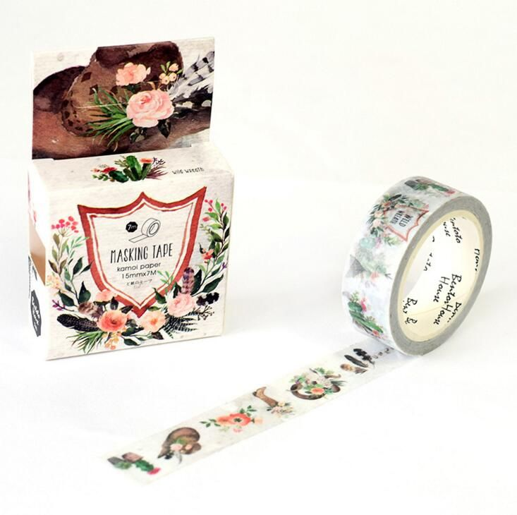 JA315  Vintage Style Flowers Decorative Washi Tape DIY Scrapbooking Masking Tape School Office Supply Escolar Papelaria
