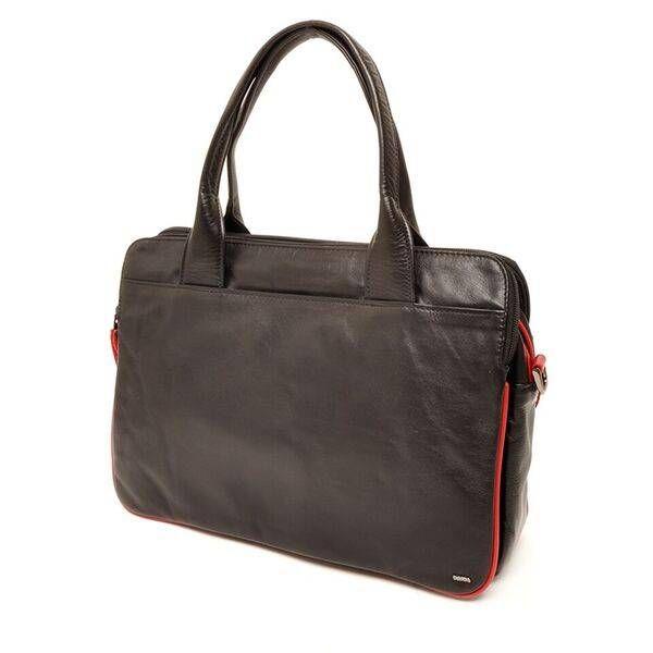 """Berba Soft Handtas / Businesstas in A4 formaat 005-964 Zwart / Rood  Het paradepaardje uit de Soft serie: deze veelzijdige luxueuze tas kan door zijn formaat gebruikt worden als werktas maar ook als grote handtas. De tas heeft handvatten maar is ook voorzien van een lange verstelbare draagriem die je met musqetons kunt bevestigen. Zo kun je de tas ook """"crossover"""" dragen. Doordat de tas is voorzien van maar liefst 4 grote ritsvakken is hij ideaal om paperassen etc. in op te bergen. Ook is de…"""