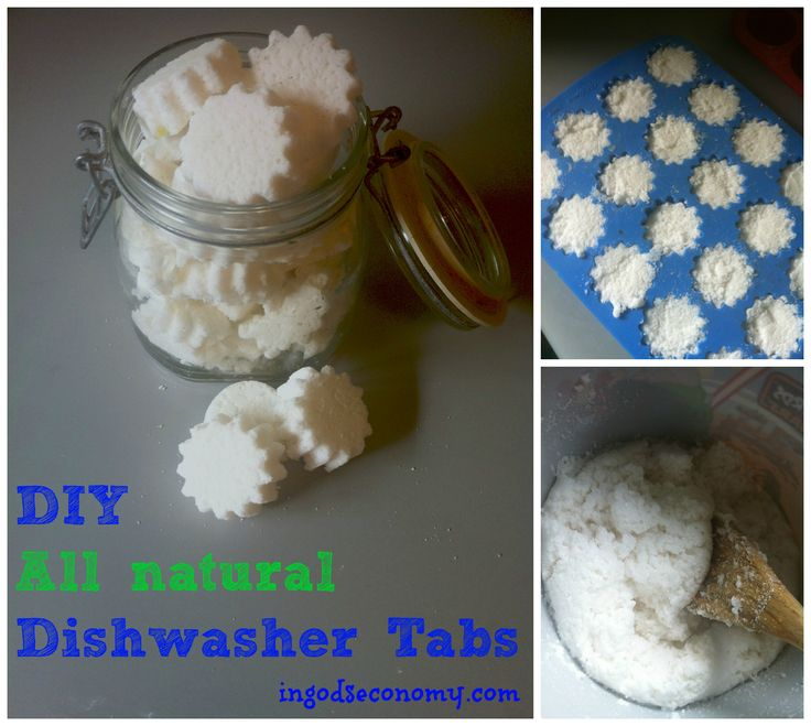 Make your own all-natural dishwasher tablets for pennies! No film, and they do a great job of cleaning!