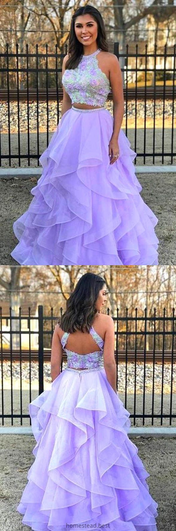 Two Pieces A Line Lace Top Open Back Organza Sleeveless Prom Dresses Evening Dress Eth14008 Lilac Prom Dresses Piece Prom Dress Prom Dresses Sleeveless [ 1766 x 588 Pixel ]