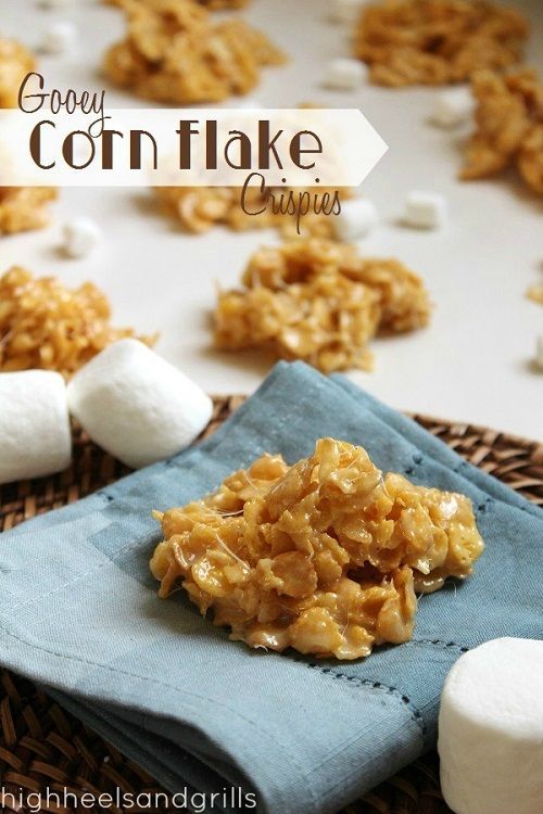 Gooey Corn Flake Crispies. 4 Ingredients, no baking, and they're delicious. #dessert #easy http://www.highheelsandgrills.com/2013/05/gooey-corn-flake-crispies.html