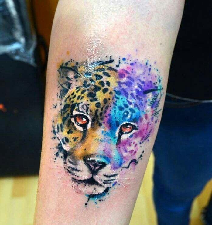 Cheetah girly tattoo beautiful colorful