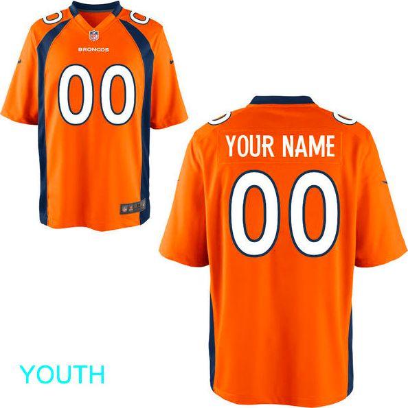 Denver Broncos Jersey - Youth Orange Custom Game Jersey