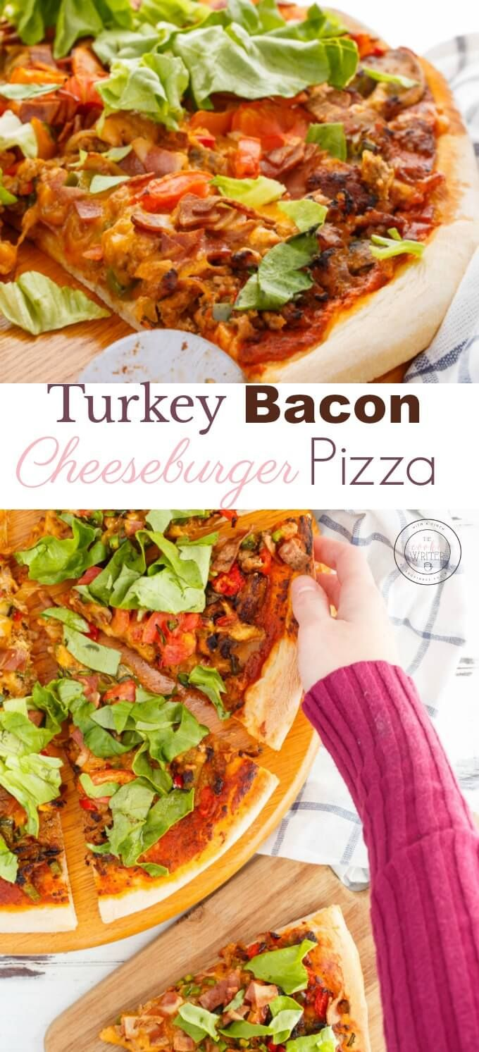 Turkey Bacon Cheeseburger Pizza | I LOVE homemade pizza, especially when it is as simple as this one! I also share the vegetarian alternative for guests or family who have different dietary restrictions! A mix of turkey bacon, homemade pizza sauce, and cheeseburger toppings, this pizza will fill you up in no time! #2meals1recipe #food #pizza #turkey #bacon #comfortfood