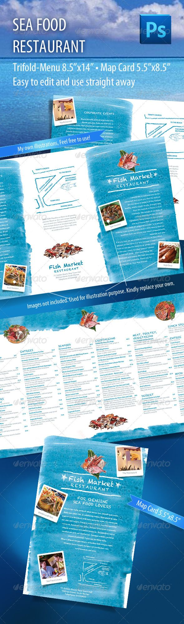 Seafood Restaurant Food Menu & Map Card Template PSD. Download here: http://graphicriver.net/item/seafood-restaurant-menu-map-card/712753?s_rank=131&ref=yinkira