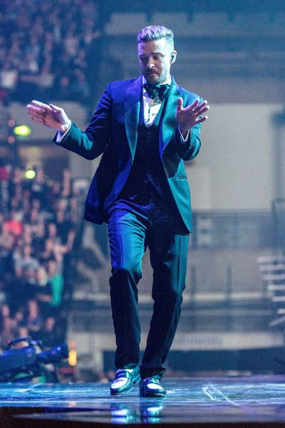 Justin Timberlake gets in the groove onstage for his 20/20 Experience World Tour first UK show.