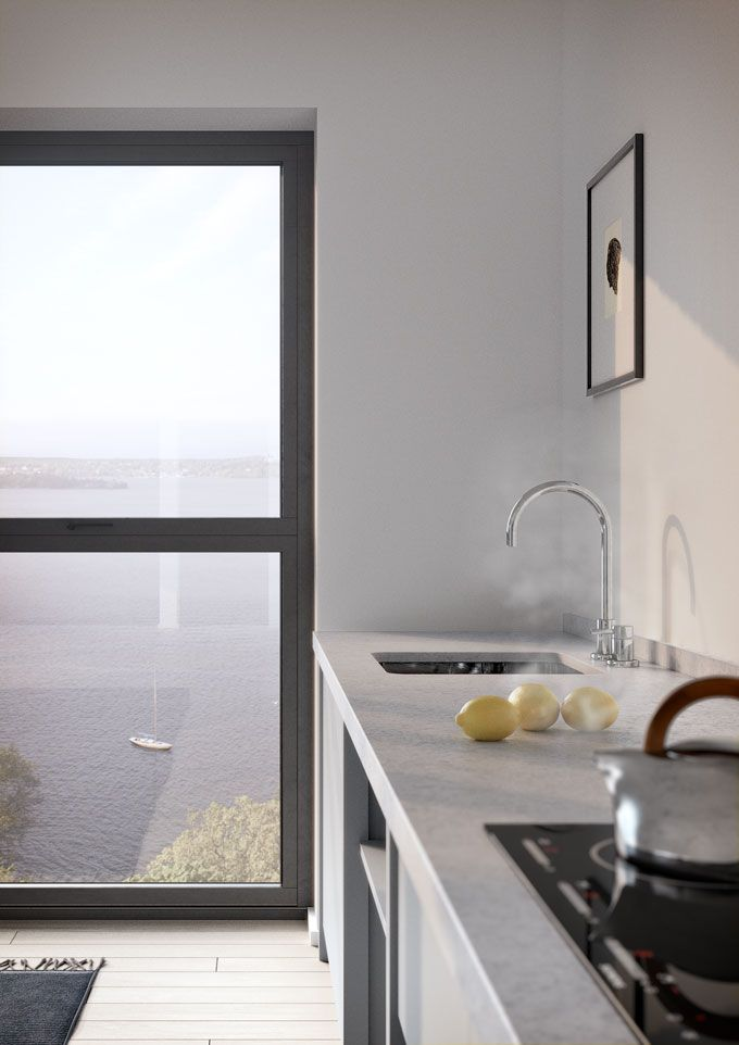 #oscarproperties Oscar Properties, Stockholm, interior, design, windows, stockholm, sweden, sea view, view, kitchen