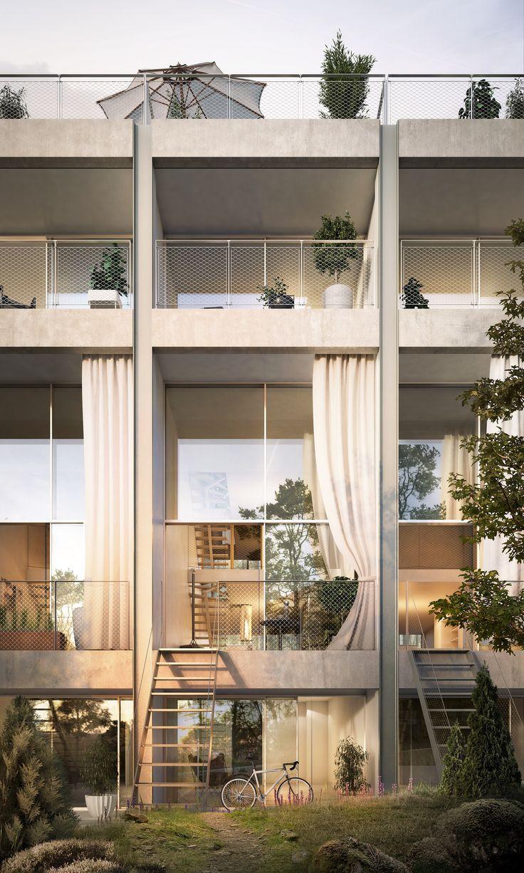 Tobin Properties: #tobinproperties Townhouse Verandan, 5Hus Tollare, Nacka Strand. Stadsradhus med uteplats i markplan och högst upp i huset finns en privat takterrass som skapar en avskild takträdgård