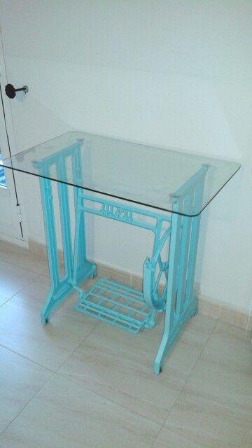 Mesa con pie de maquina de coser antigua dim mis - Mesa para maquina de coser ikea ...