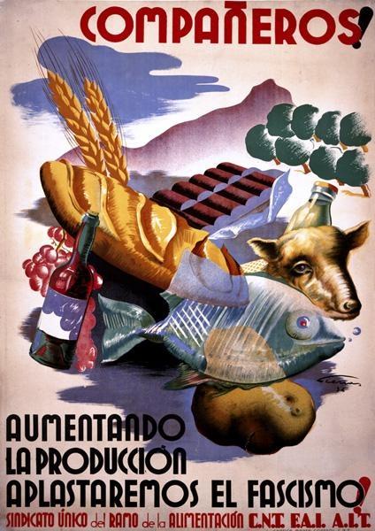 Companeros!Aumentandolaproducciónaplastaremoselfascismo! [Companions! By increasing production, we crush fascism!]  -- Spanish Civil War propaganda poster (Spain), c. 1936-1939.  Artist: Cienas.