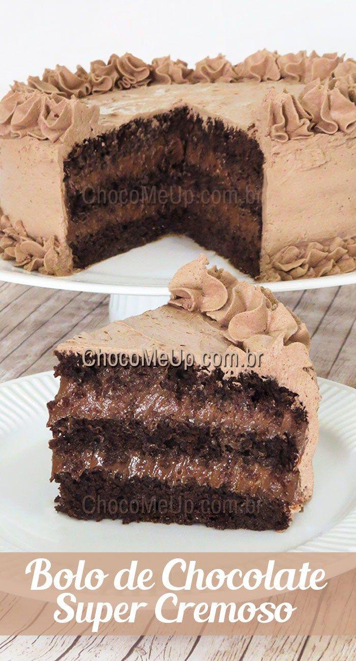 Receita De Bolo De Chocolate Recheado Super Cremoso Super Fofinho Umedecido Com Uma Bolo De Chocolate Recheado Receita De Bolo De Chocolate Bolo De Chocolate