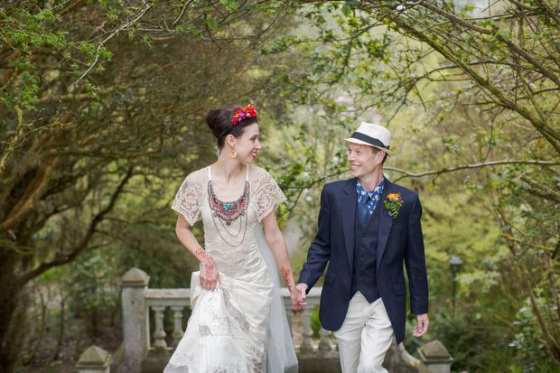 stylish and colourful bride and groom - Alice Halliday bespoke lace bridal dress with Bonzie beaded collar, Ruby Harte Floral Design crown and corsage  http://onefabday.com/liss-ard-estate-wedding-by-magda-lukas/