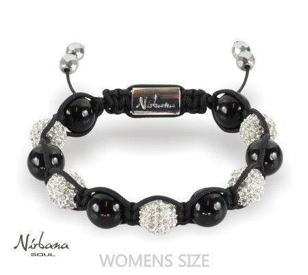 Nirbana Soul - Jetta Silver - Crystal & Onyx Shamballa bracelet