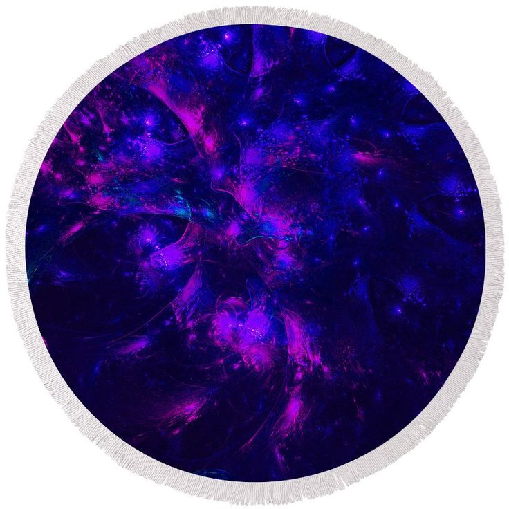 Purple and Blue Round Beach Towel. Artist Tracey Lee Art Designs
