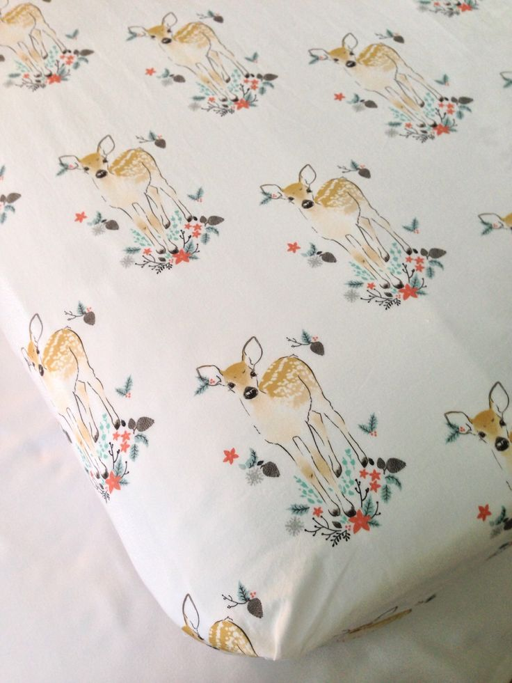 Infant Crib Sheet ~ Toddler Bed Sheet ~ Nursery Bedding ~ Hawthorne Threads ~ Winter Fawn ~ Woodland Nursery ~ Coral by SweetBabyBurpies on Etsy https://www.etsy.com/listing/257361096/infant-crib-sheet-toddler-bed-sheet