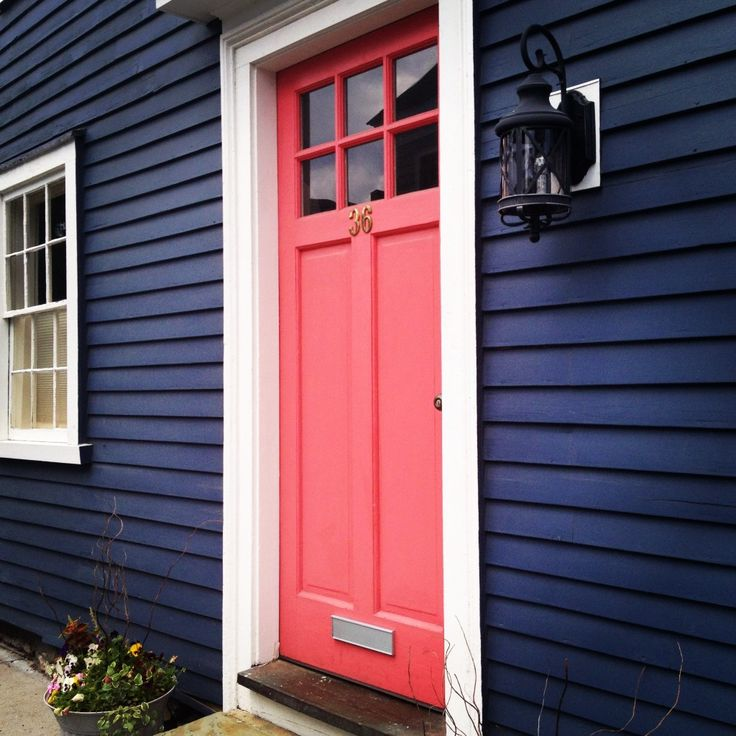 Best Color For Front Door On Brick House Part - 27: Navy House, Coral Door- Kiel Wants To Paint The House A Navy Blue So Maybe  I Can Get The Coral Door!