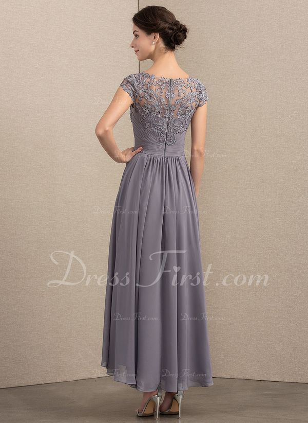 003b46b4828 A-Line Princess Scoop Neck Asymmetrical Chiffon Lace Mother of the Bride  Dress (008164106)