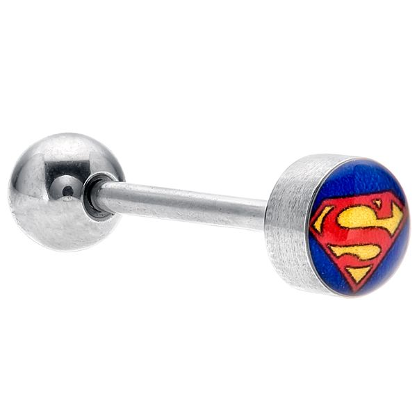 "Superman ""S"" Logo Steel Tongue Ring Barbell at FreshTrends.com"