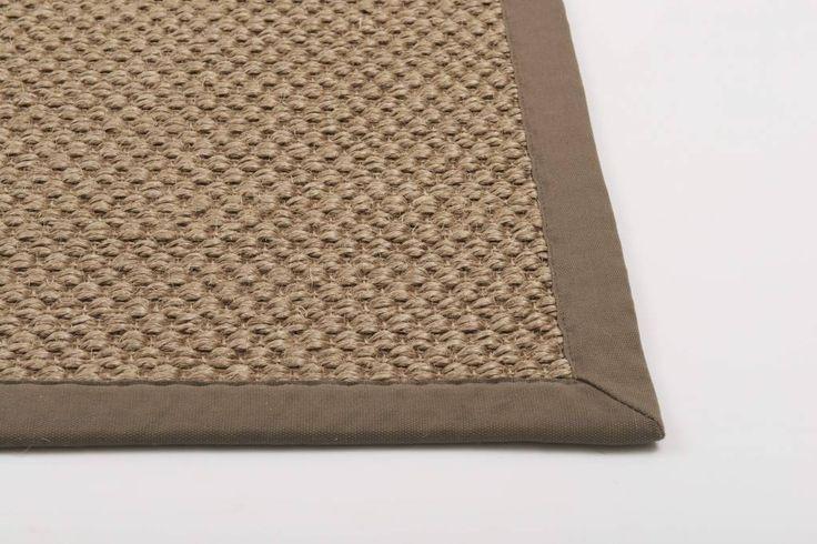 |Havard| Sisal in een mix grijs/bruine kleur met een taupe katoenen band afwerking