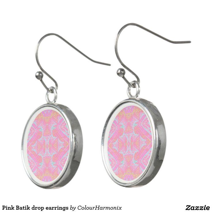 #Pink #Batik #drop earrings, #beachwear #poolside by #colourharmonix #fashion earrings, #Summer-style, #zazzle