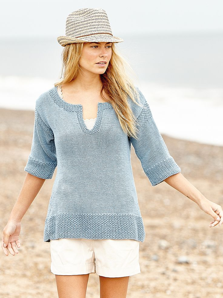 Briston - Knit this tunic sweater with three quarter sleeves from Rowan Knitting & Crochet Magazine 59. Designed by Heather Dixon in Handknit Cotton has moss stitch trims and a keyhole neck detail, it would be suitable for the less experienced knitter.