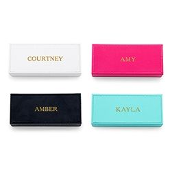 Vegan Leather Personalized Jewelry Box - Custom Emboss. Great gift for the bridesmaids!