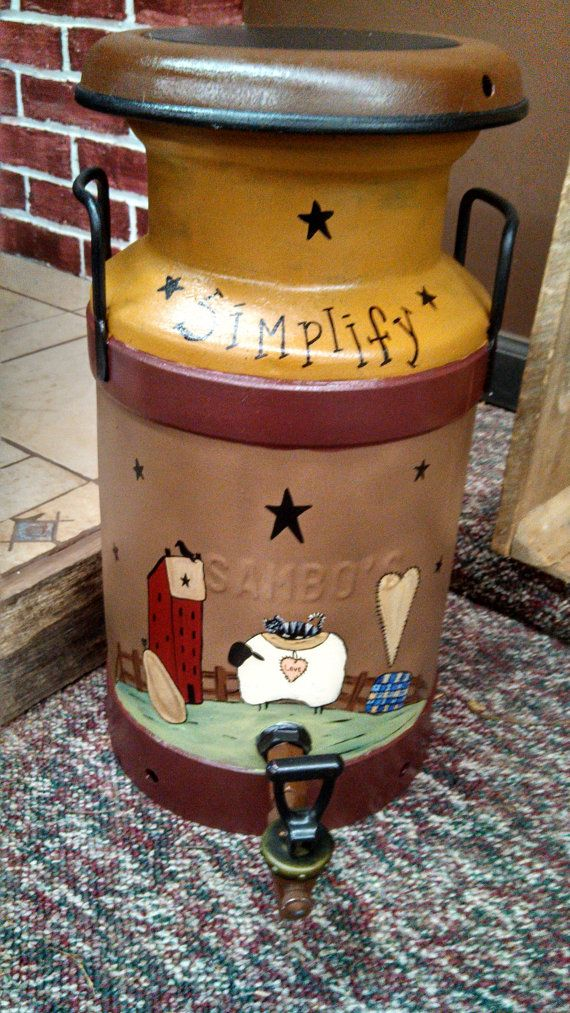 Primitive Hand Painted Milk Can by CherishEveryMomentSF on Etsy, $50.00
