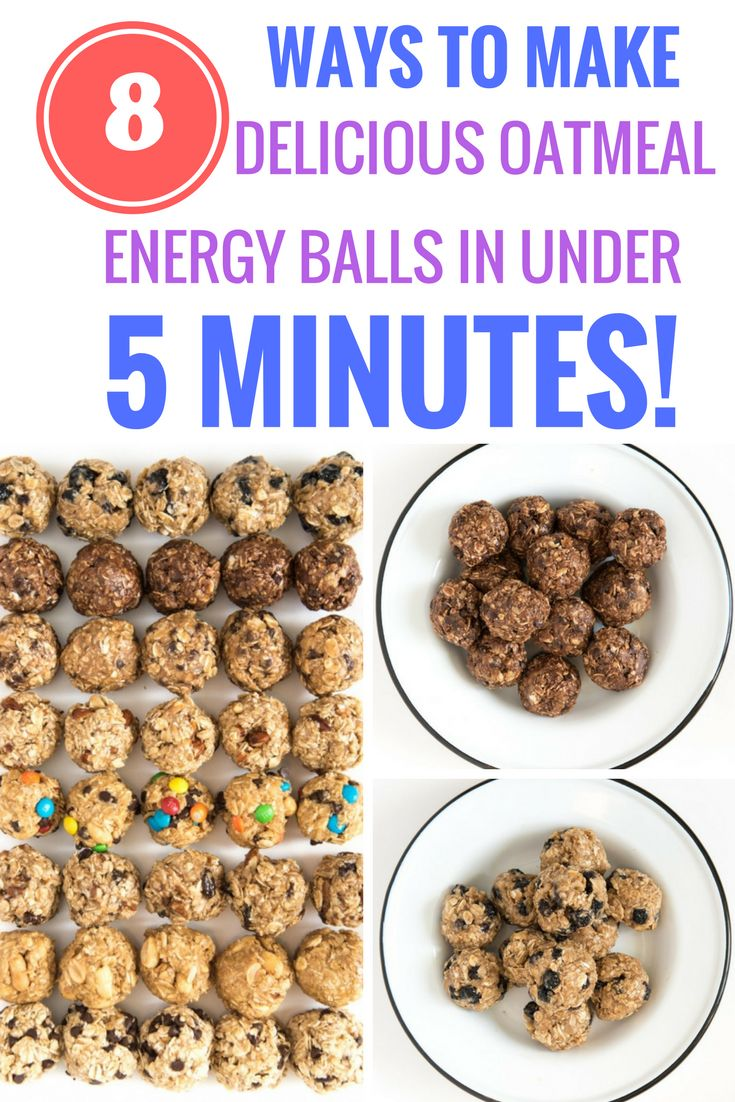 Your snack game will never be the same once you try these no-bake oatmeal energy balls. And with eight flavor options, plus tips on how to make up your own, you definitely won't get bored!   			http://www.blessthismessplease.com/2017/03/8-no-bake-oatmeal-