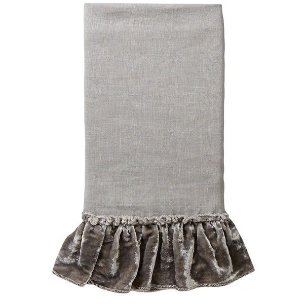 Vintage Chic Velvet Ruffle Linen Pillowcase Set - Standard ($97) ❤ liked on Polyvore featuring home, bed & bath, bedding, bed sheets, grey, gray bedding, grey bed linen, grey linen pillow cases, grey velvet bedding and grey pillow cases