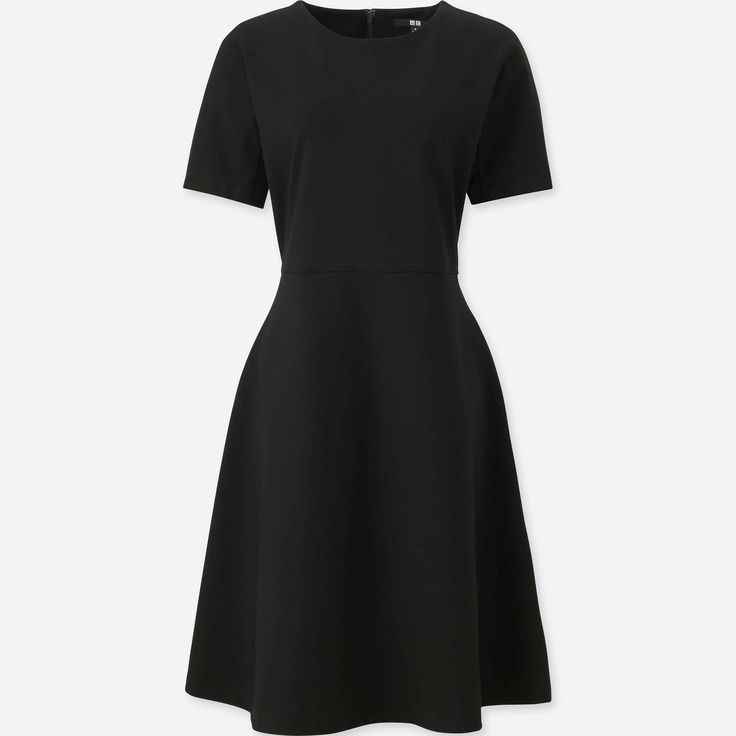 WOMEN PONTE HALF SLEEVE DRESS, BLACK, small