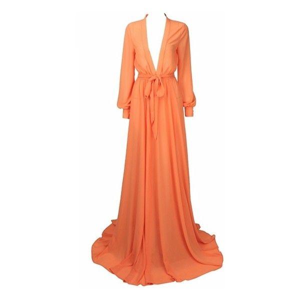 Glam Factor Orange Chiffon Long Sleeve Plunge V Neck Maxi Dress ($98) ❤ liked on Polyvore featuring dresses, long sleeve chiffon dress, v neck maxi dress, red chiffon dress, long-sleeve maxi dresses and red dress
