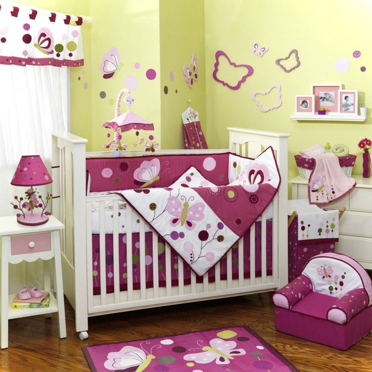 Nursery Room Breathtaking White Wooden Stained And Pink Baby Crib Set For  Nursery Room Design Butterfly Part 36