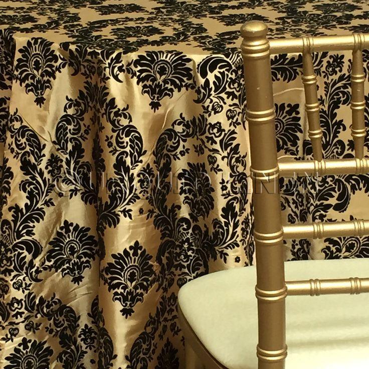 Damask Print Flocking Taffeta Pattern Fabric Tablecloth