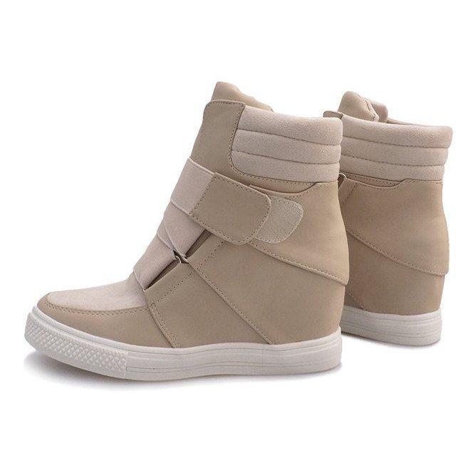 Botki Damskie Butymodne Czarne Bezowe Sneakersy Na Koturnie Bahia Sneakers Beige Sneakers Womens Sneakers