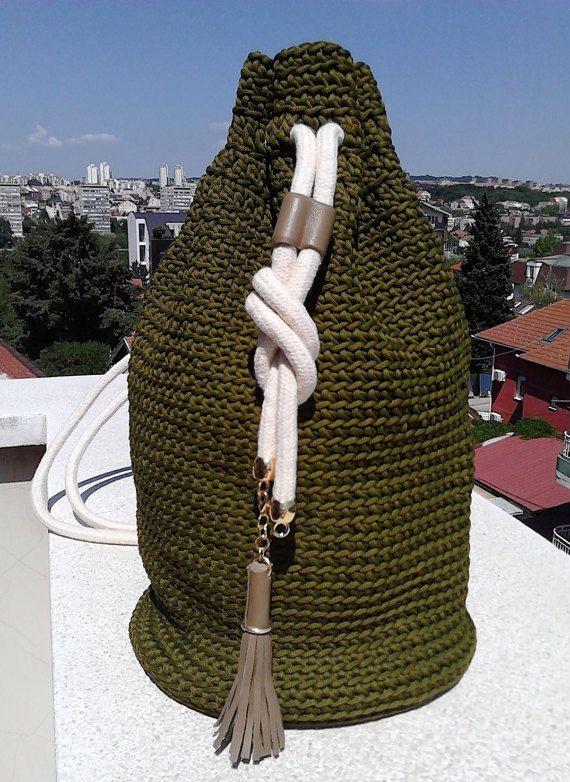 Crochet Bucket bag-Olive green Backpack-Drawstring bag -Modern Crochet…