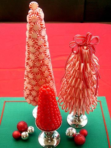 Minty Peppermint Tree Project: Quick to make and so minty-fresh, these colorful topiary trees are made from candy that's been hot-glued to a Styrofoam cone. We've displayed them on silver candlesticks for added elegance, but they can also just be set on your table or mantel.