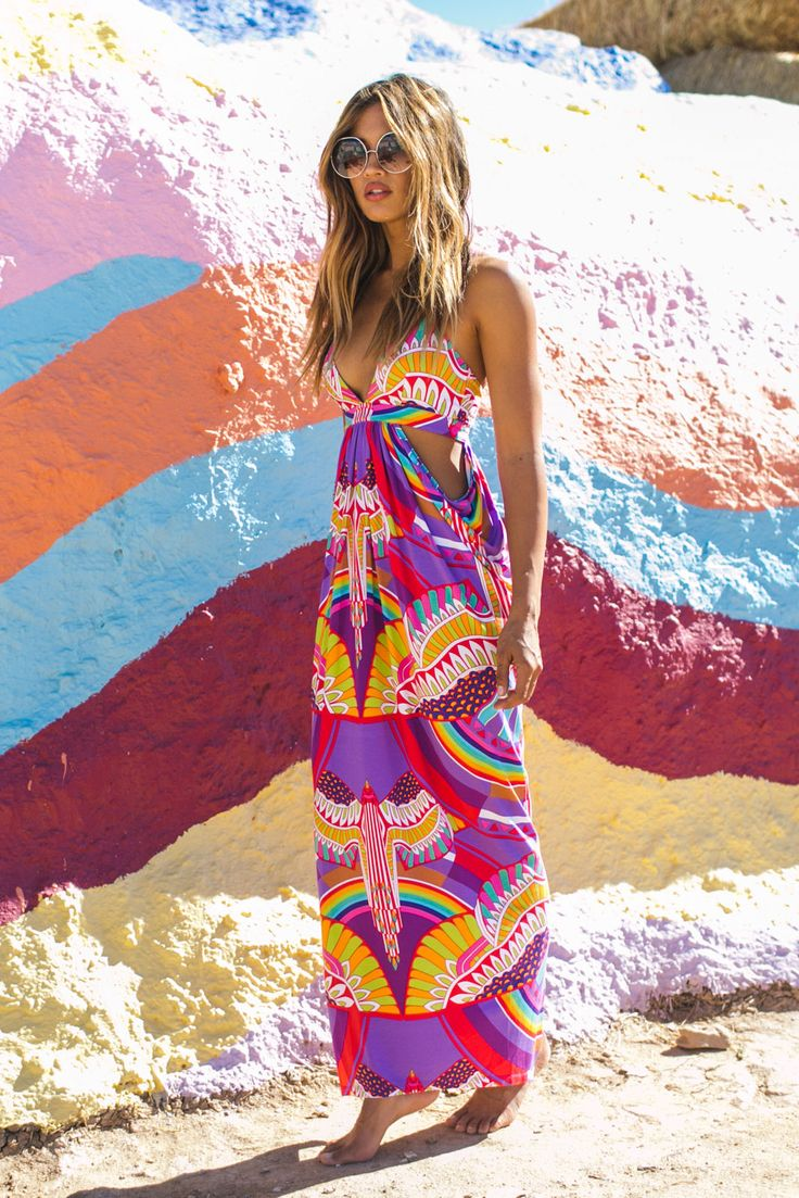 Mara Hoffman triangle top cutout maxi dress in rainbow bird lilac #soleilblue