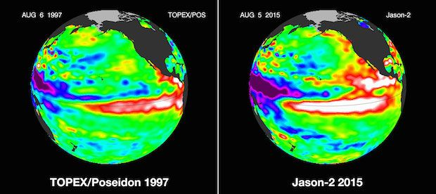 Get ready for one of the strongest El Ninos ever -- This is a side by side comparison of Pacific Ocean sea surface height (SSH) anomalies of what is presently happening in 2015 with the Pacific Ocean signal during the famous 1997 El Niño. These 1997 and 2015 El Niño animations were made from data collected by the TOPEX/Poseidon (1997) and the OSTM/Jason-2 (2015) satellites. NASA