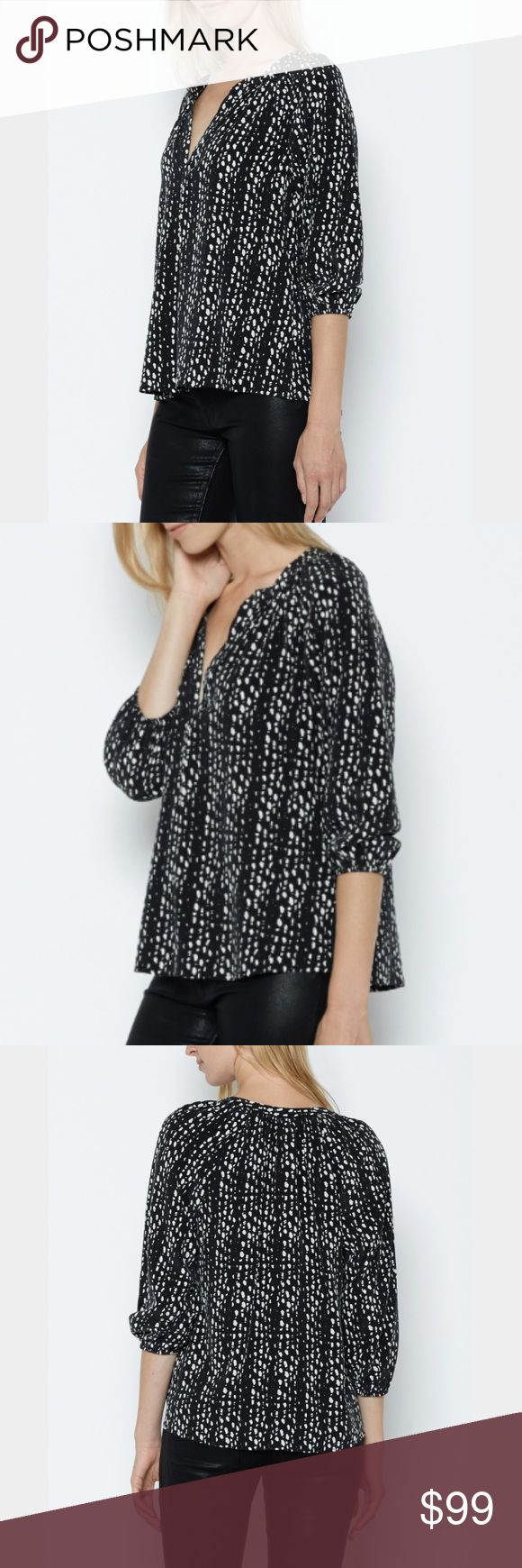 """NWT JOIE ADDIE B SILK BLOUSE BLACK ANIMAL PRINT NEW WITH TAGS JOIE """"ADDIE B"""" 100% SILK ANIMAL PRINT BLOUSE - TOTALLY SOLD OUT                                                     SIZE SMALL                                                           BOUGHT FOR $258 plus tax.                                      100% SILK                                                          STUNNING BLACK AND WHITE CHEETAH PRINT FEATURES A SPLIT V NECK, ELASTIC SLEEVE CUFFS, AND AN INVERTED FRONT PLEAT THAT…"""